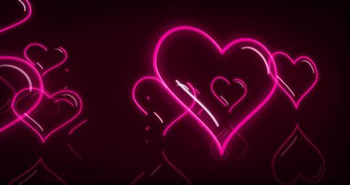 Heart neon lights love 3D fly animation Animation