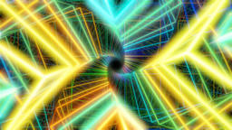 Twisted Geometric Tunnel made of Colorful Neon Cubes Stock Video Footage