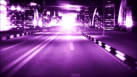 3D Purple Night City Road VJ Loop Motion Graphic Background Animation