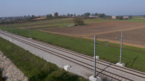 Aerial shot of railroad tracks in rural countryside Footage