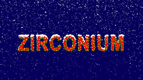 New Year text Element of periodic table ZIRCONIUM. Snow falls. Christmas mood, Animation