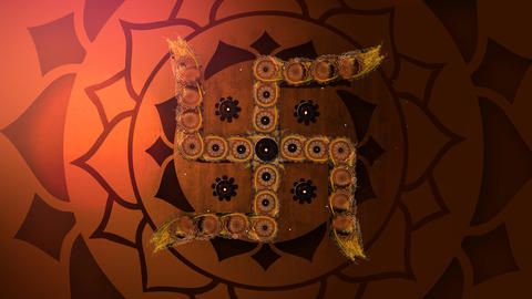 Happy Deepavali title with Hindu Swastika symbol of Fortune 애니메이션
