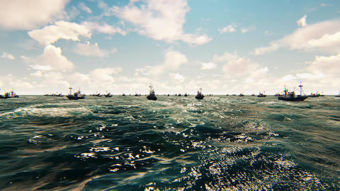 View of the Beautiful Blue Calm Sea and commercial fishing boats. In 4K Animation