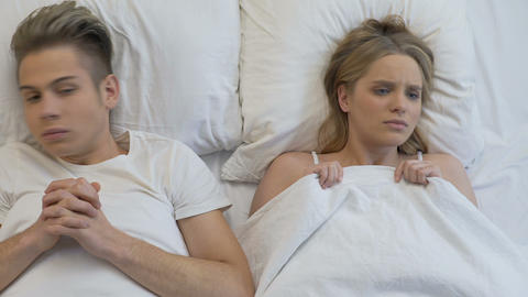 Boyfriend and girlfriend feeling panic before lovemaking, inability private talk Live Action