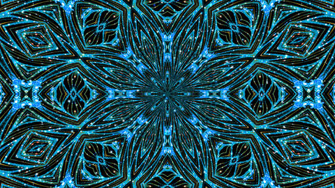 Kaleidoscope Glitter Blue Pattern Loop Animation