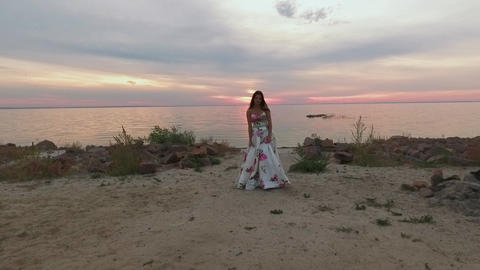 Beautiful girl in a long evening dress by the river. Shot on drone Footage