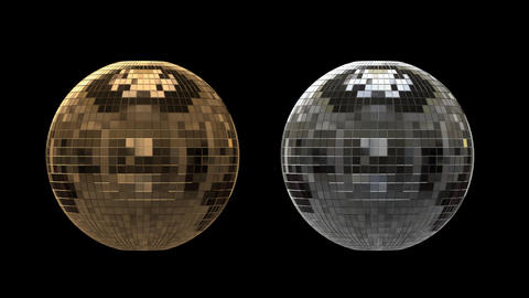 Silver and gold disco ball with alpha channel GIF