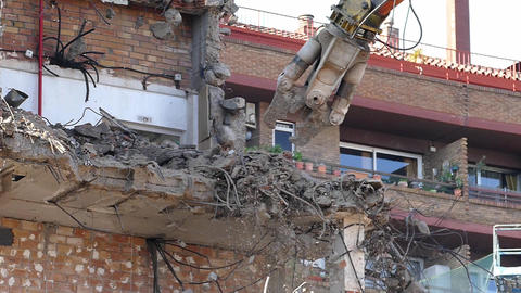 Demolition machinery working. Time Lapse Live Action