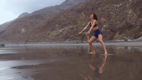 Fit woman training legs with hiit workout jumping squats exercises. Fitness Footage