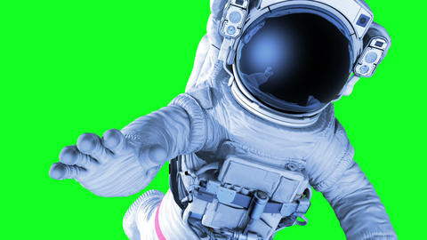 Astronaut on a Green Screen. 3d animation Animation