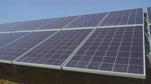 Perspective view on plate of solar panels Live Action