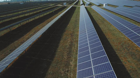 Large field of renewable solar energy. Shot on drone Live Action
