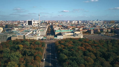 Aerial view of Berlin cityscape involving famous Brandenburg Gate and TV tower Footage