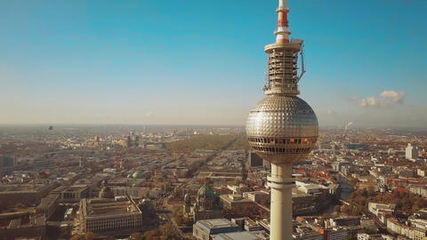 Aerial view of Berlin cityscape and Fernsehturm or Television Tower details Footage