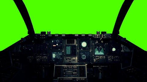 Spaceship Cockpit in a Pilot Point of view on a Green... Stock Video Footage