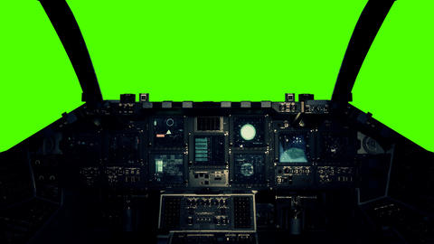Spaceship Cockpit in a Pilot Point of view on a Green Screen Background Live Action