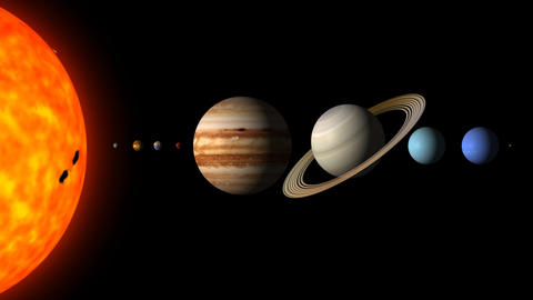 The Solar System By Order on a Black Background Live Action
