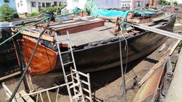 Vigilant Thames barge restoration Topsham Devon UK Footage