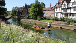 River Stour, Canterbury, Kent, UK, tourists on a boat on the river Footage