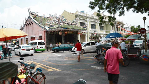 pan at popular unesco heritage area intersection Live Action