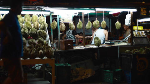 A durian stand at night Footage