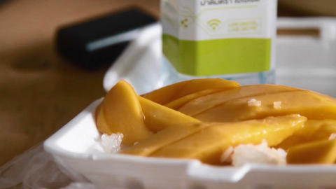 closeup - mango sticky rice Live Action