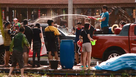 water fight on truck - songkran chiang mai Footage