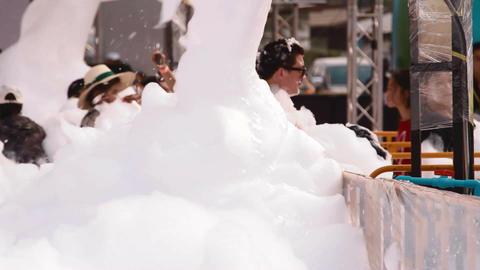 foam machine covers man in foam Live Action