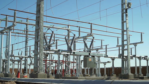 Electrical Substation Construction Wide Pan Footage