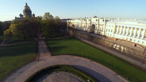 Aerial view. Bronze Horseman, a monument to Peter I in St. Petersburg. 4K Footage