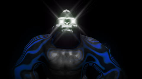 Blue Energy Gorilla Sparkling Eye Strobe Ocean Lights Black Background VJ Loop Live Action