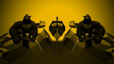 Gorilla Bodyguards Yellow Glass Colorful Strobe VJ Loop Footage