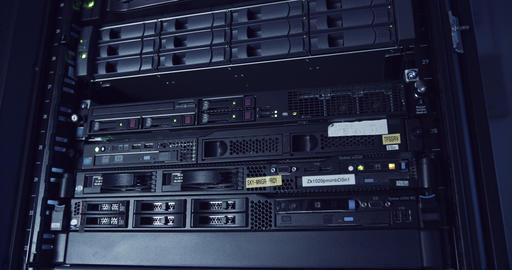 A large server room inside a cloud computing data center GIF