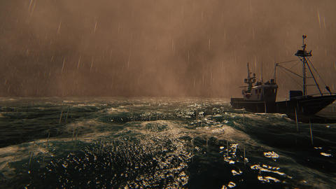 View of the Sea storm and commercial fishing boats Animation