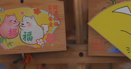 Votive tablets at Asakusa shrine close shot left tracking shot Live Action