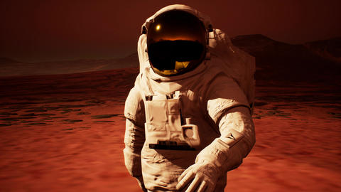 Astronaut in spacesuit confidently walk on Mars in search of life Animation