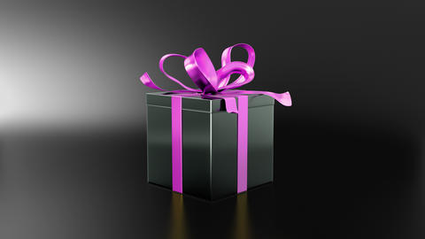 Elegant black gift box with ribbon opening CG動画素材