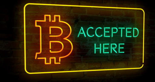 Bitcoin accepted here neon 3D Animation