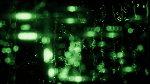 Green Blurred City Lights and Rain Drops on Glass Loop Background Animation