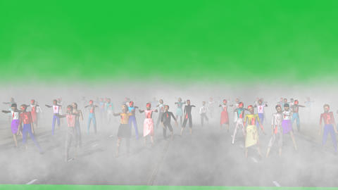 Zombies Walking Toward Viewer (Green Screen): + Matte