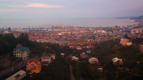 Aerial view of buildings and port of Batumi, Georgia, architectural cityscape ビデオ
