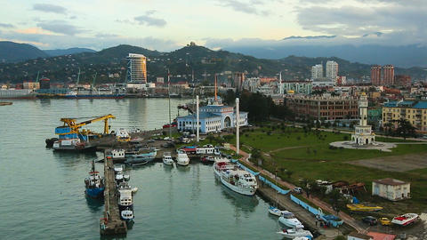 Aerial view of Batumi port with docked yachts and boats, tourism in Georgia Footage