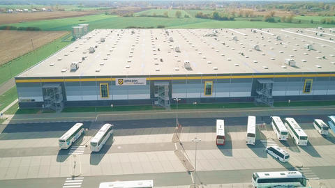 POZNAN, POLAND - OCTOBER 20, 2018. Aerial view of Amazon Fulfillment logistics Live Action