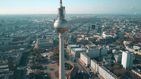 Panoramic aerial view of Berlin and Fernsehturm or TV details, Germany Footage