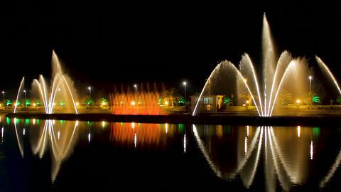Beautiful pouring water show of famous dancing fountains Ardagani lake, Batumi Live Action