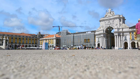 View of triumphal arch with statues of historical figures from Commerce Square Footage
