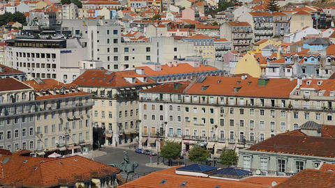 View if rich infrastructure of Lisbon with snow-white houses with red roofs Live Action
