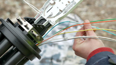 Technicians are installing optic fiber with cable ties Photo