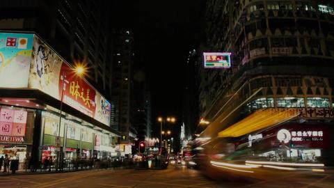 Hong kong night street crossroad traffic Footage
