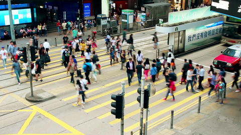 Hong kong street crossroad traffic time lapse Footage